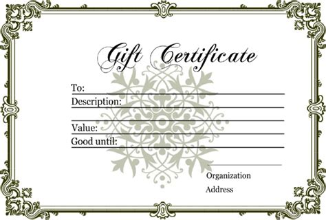 download homemade gift certificate template for free