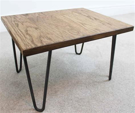 trace hairpin industrial coffee table oak and