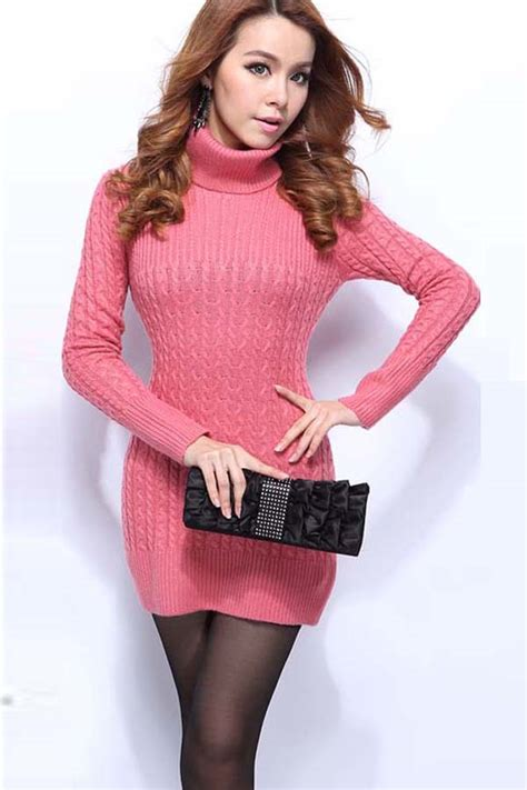 pink high collar twist long sleeves sweater dress