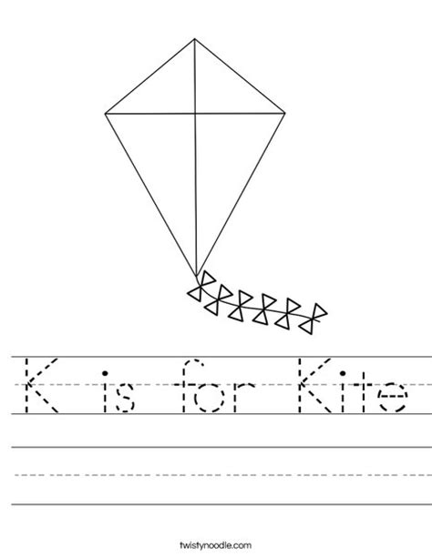 kite coloring pages for kindergarten k is for kite worksheet from twistynoodle com kites
