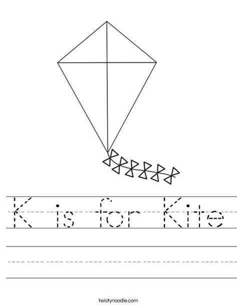 K Is For Kite Worksheet Twisty Noodle