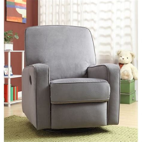 grey glider recliner for nursery pri sutton fabric swivel glider recliner in grey ds 912