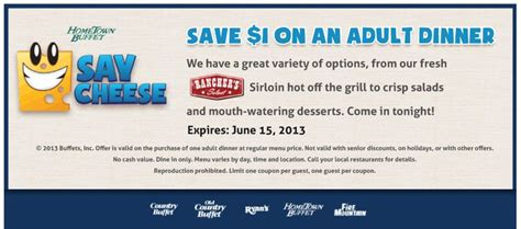 Pinned May 21st Shave A Buck Off Dinner At Hometown Mountain Buffet Coupons