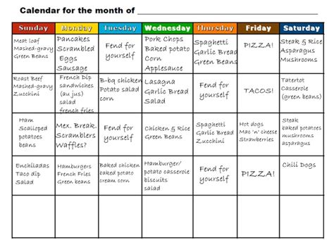 G Prep Calendar Back To School Meal Planning By The Month Simply Family