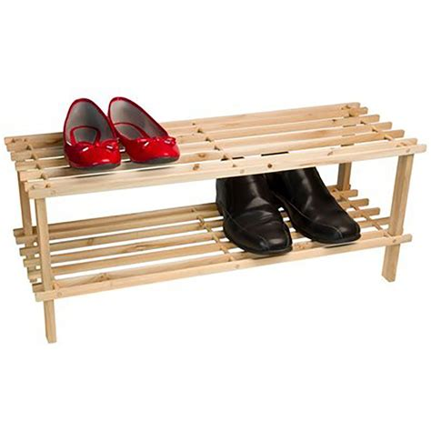 Two Tier Shoe Rack by Wooden Two Tier Shoe Rack