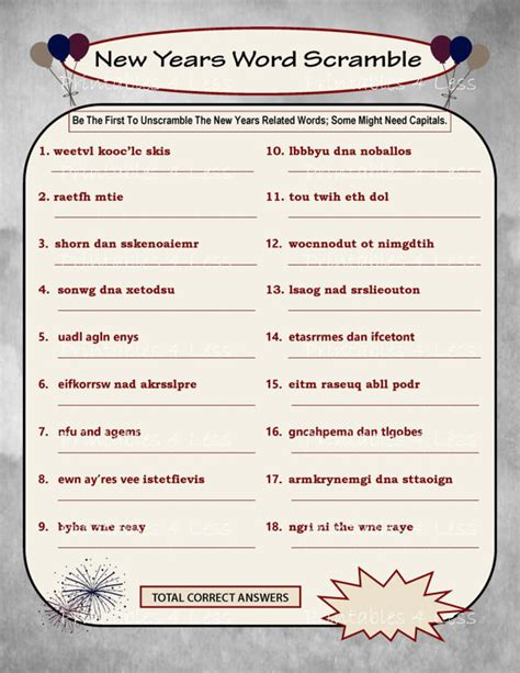 free printable unscramble word games for adults new year word scramble diy printable word scramble