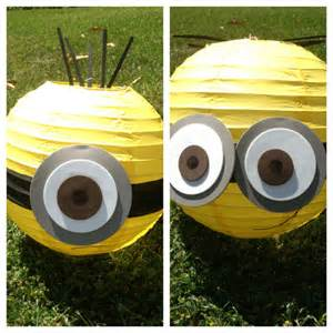 minion inspired yellow paper lantern decoration one eyed or