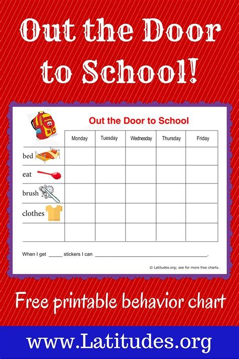 Get Rewarded For Healthy Behavior by Free Reward Chart Out The Door To School The Doors