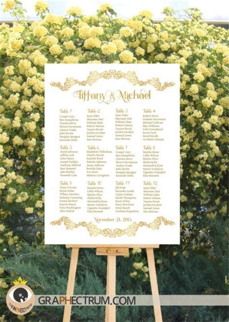 wedding table seating wedding seating chart diy printable floral gold crown