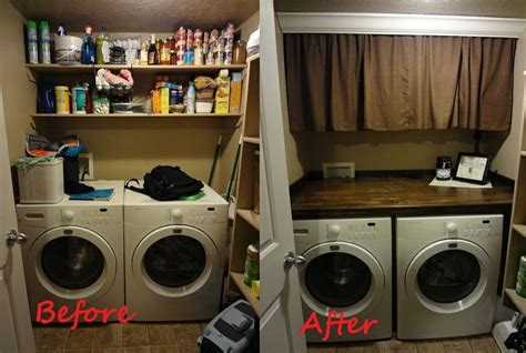 curtains to hide washer and dryer counter over washer dryer crown molding with curtains to hide shelves maple plywood