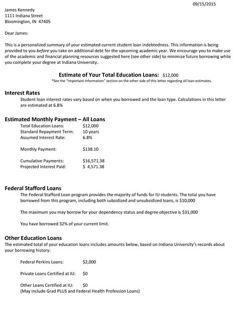 The Letter That S Helping One College S Students Understand Their Student Loan Debt Credit Com Get Out Of Debt Free Template Letters
