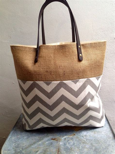 hessian tote bag pattern gray and white burlap tote bag by poppykosh on etsy 38