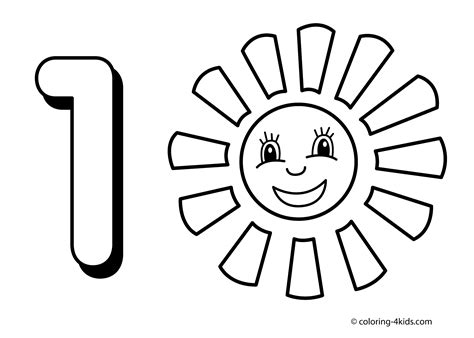 1 numbers coloring pages for kids printable free digits