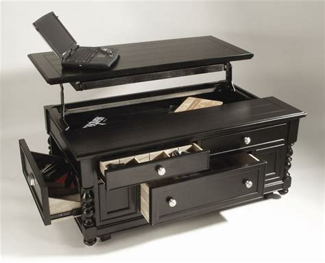transformer! more than meets the eye! Wood Coffee Table In Black Finish w Storage Drawers & Lift