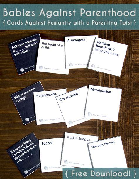 printable games like cards against humanity babies against parenthood game free printable