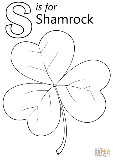 shamrock coloring page letter s is for shamrock coloring page free printable