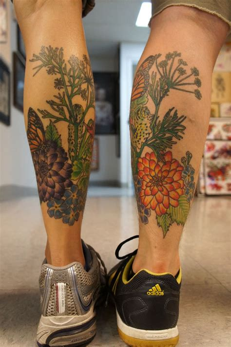 kansas city tattoos butterfly and flower tattoos flower butterfly leg