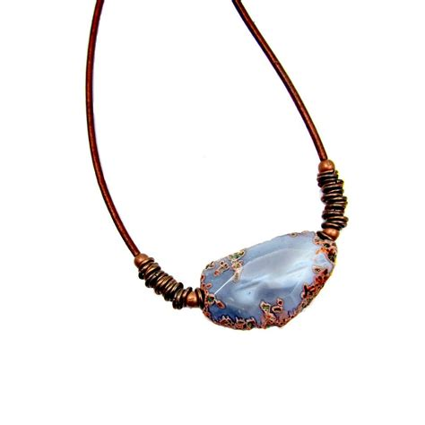 gray agate unisex pendant on copper leather cord necklace