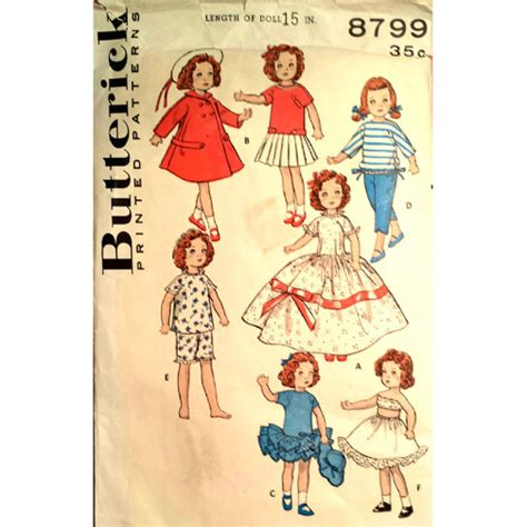 pattern for doll clothes 15 inch butterick 8799 vintage 15 inch doll clothes hat ginny
