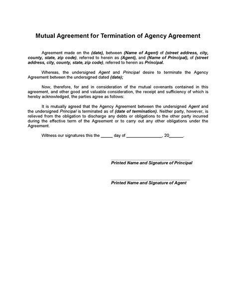 Letter Of Agency Agreement Termination Of Agency Agreement Forms And Business Templates Megadox