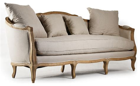 maison sofa natural oak with natural linen farmhouse