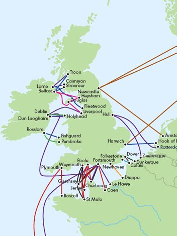 map uk ferry routes caravan and motorhome ferries guide 2007 practical