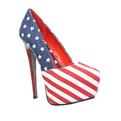 womens high heel stiletto platform usa american flag court