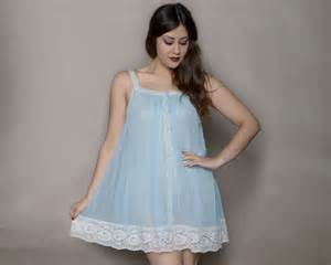 Babydoll nightie 60s nightgown baby blue by gravelghostvintage