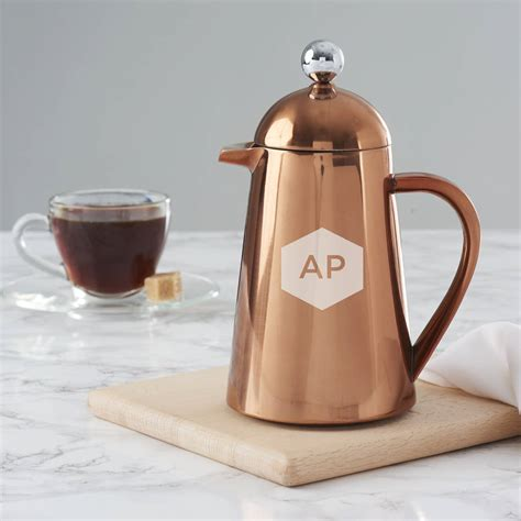 Coffee Pot personalised geometric copper coffee pot by becky broome