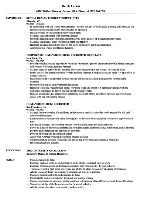 recruiter sle resume human resources human resources recruiter resume sles velvet