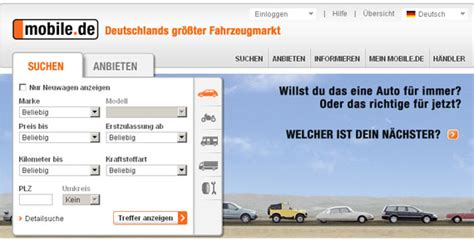 www mobile de mobile de automobil plattform seit 1996 gr 252 nderszene