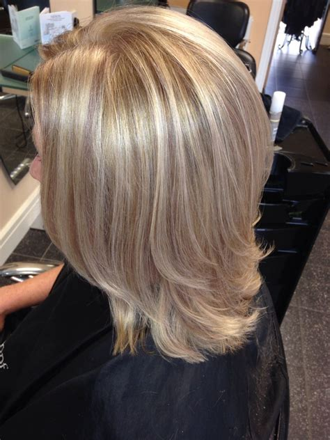 medium length hair style low lights perfect blonde high lights and brown mocha low lights