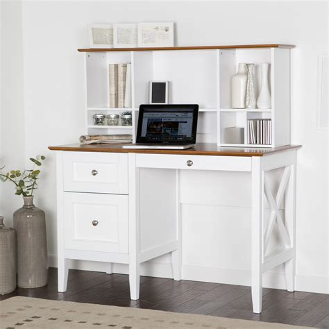 White Wood Computer Desk Furniture White Desk With Drawers And Shelves For House And Office Equipment Founded Project