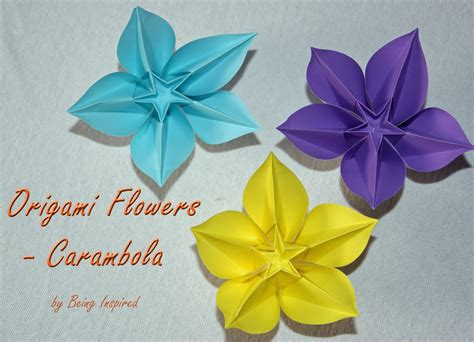 Simple Flower Origami - being inspired origami carambola flowers