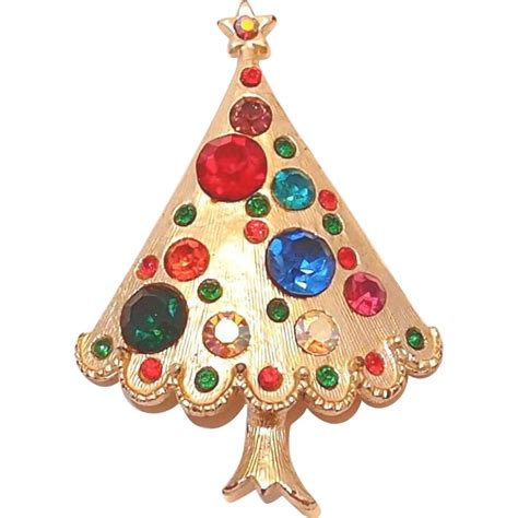 large multi colored rhinestone christmas tree pin from