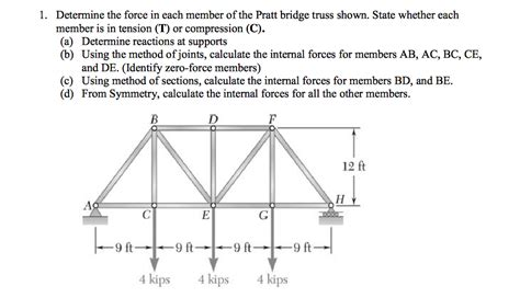 Method Of Sections Calculator by 1 Determine The In Each Member Of The Pratt