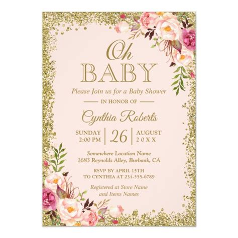 Oh Baby Shower Blush Pink Gold Glitters Floral Invitation Zazzle Com Pink And Gold Invitations Templates