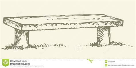 bench drawing old wooden bench vector drawing stock vector image