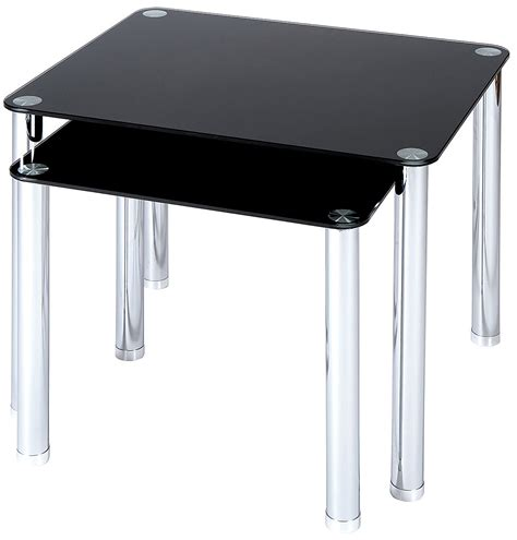 black glass side table set of 2 black glass with chrome legs side tables