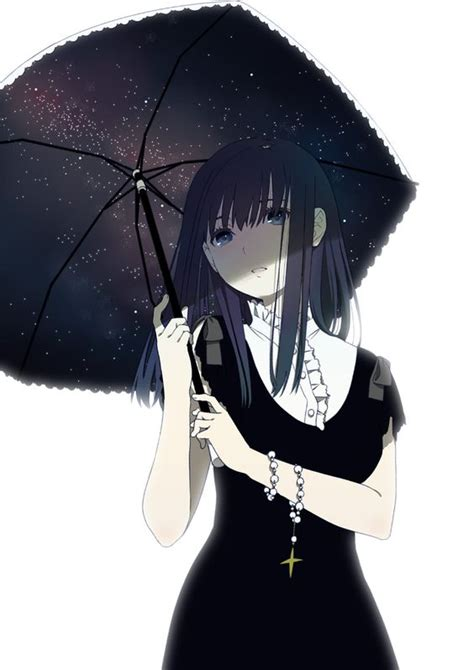 Anime Umbrella by Black Haired Anime In Black Dress With Umbrella