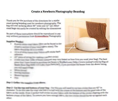 diy bean bag frame pattern for newborn photography posing beanbag diy