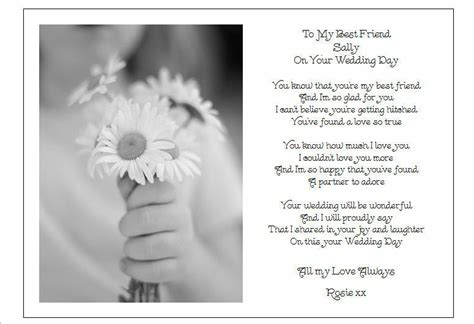 wedding day poems for cards to my best friend on wedding day unique personalised