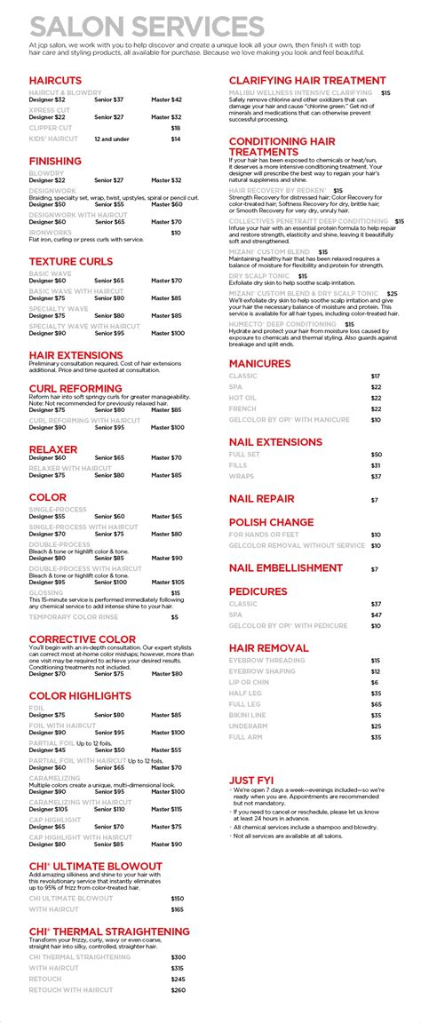 Jcp Hair Salon Price List | jcp salon services haircuts manicures pedicures