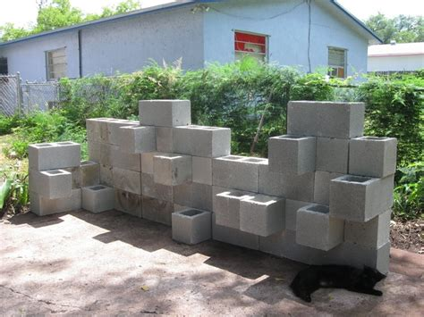 cinder block planter wall new house