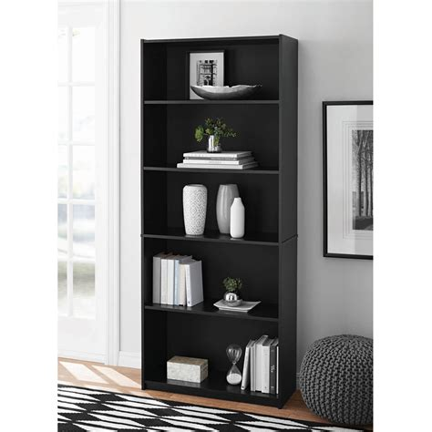 mainstays 5 shelf wood bookcase 5 shelf adjustable wide wood bookcase storage bookshelf