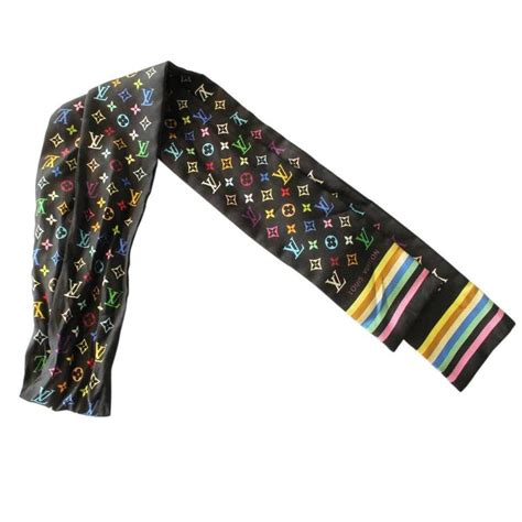 lv pattern scarf louis vuitton multicolor black silk twilly scarf at 1stdibs