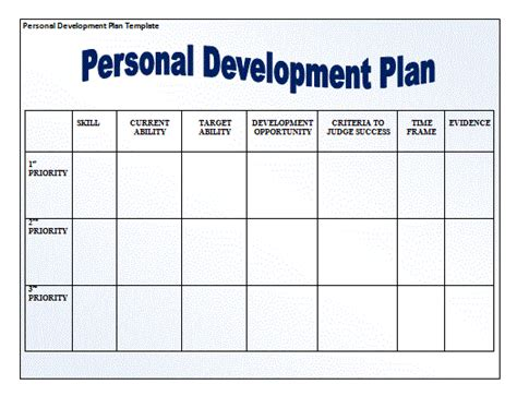 personal improvement plan template personal development plan template new calendar template