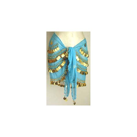turqoise belly dancer hip scarf with coins moon design