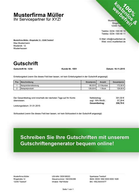 Rechnungskorrektur Gutschrift Muster Gutschrift Muster Kostenlos