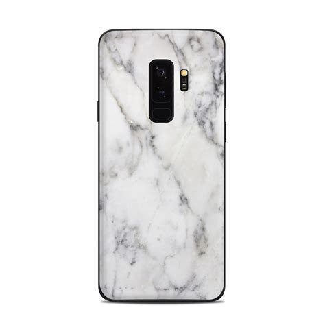samsung galaxy s9 plus skin white marble by marble collection decalgirl